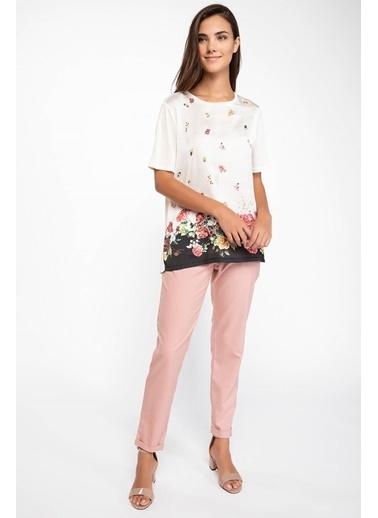 DeFacto Floral Desenli T-shirt Ekru